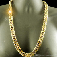 Chunky Mens Halskette Solide Kette 18k Gelbgold gefüllt schwere dicke enge Miami poliert Double Curb Chain Link 24 Zoll