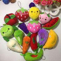 Movies & TV packaging of fruits and vegetables - 100pcs Collection Of Plush fruit and vegetable Mixed Package Dolls For Phone Key Bag Pendants Cartoon Stuffed Toy