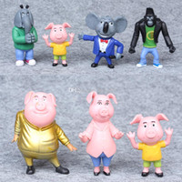 Wholesale Christmas Singing Dolls - New 7-10CM 8pcs Lot Cartoon Movie Sing Action Figure Toys Buster Moon Johnny Dolls Action Figure Toys Christmas Birthday Gifts