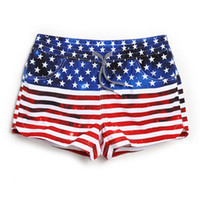 Wholesale American Flag Shorts Women - women summer swimwear shorts American Flag Stars Printed Design Striped Hot Shorts for Female Seaside Wear Clothing Board Shorts