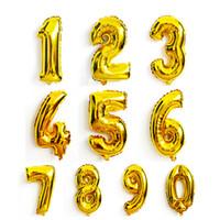 ballons numéros d'or achat en gros de-Grand 32 Pouce Nombre En Aluminium Ballon Or Argent 0 à 9 Feuille Ballons À L'hélium pour Anniversaire Enfants Décoration De Fête De Célébration Fournitures