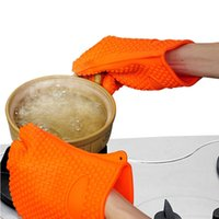 Wholesale Wholesale Oven Mitts Pot Holders - Barbecue Silicone Heat Holder Gloves Kitchen Oven Mitts Cook Microwave Resistant Gloves Pot Holder Kitchen Tools 500pcs OOA2028
