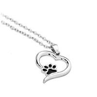 Wholesale Cute Girl Fashion Love - New Fashion Cute Animal Dog Cat Puppy Paw In Love Heart Charm Necklace Black Oil Paw Pendant Sisters Girls Kids Family Gift EFN017-A