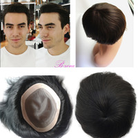 Wholesale Fine Human Hair - Stock Human Men Hair Toupee 6x8 fine Mono base with NPU around black and brown color human hairpiece