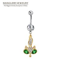 Wholesale Crystal Gold Fox - MADE WITH SWAROVSKI ELEMENTS Fox Animal Rhinestone Piercing Belly Button Rings Navel for Women Fashion Body Beach Neoglory Jewelry New