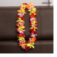Wholesale Christmas Wholesale Wreath Supplies - Artificial Flowers Wreath Party Decoration Hawaiian Flower Leis Wedding Birthday Christmas Supplies Garland Flower Necklace WA1720