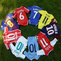 Wholesale Yellow Coverall - 17 18 Each team! Baby coverall jerseys uniform messi NEYMAR JR because KUN AGUERO MUNCHEN blue red yellow white child football suit