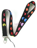 Nylon pac strapping - 20 pc Pac man fruits black phone mp3 bags Neck Straps Lanyard