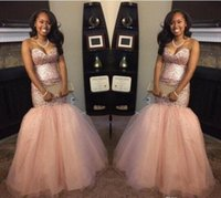 Wholesale Dark Peach Prom Dress - 2017 Peach Blingbling Sequins South Africa Black Girl Backless Mermaid Prom Dresses Sweetheart Backless intage Aso Ebi Evening Gowns