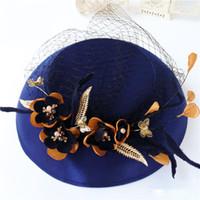 ingrosso cappelli unici del partito-Vintage Royal Blue Floral Bridal Hat Unico Fine Garden Face Veil Wedding Accessorio per capelli Sposa Madre Special Occasion Party Holiday Hats