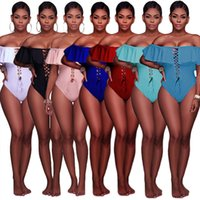 Wholesale Cheap Sexy One Piece Swimwear - Sexy Off Shoulder Ruffles Details One Piece Swimwear Hot Summer Vacation Style Hollow Out Strappy Swimsuits Cheap Wholesale Beachwear Online