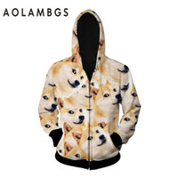 Wholesale Leopard Print Fashion Dogs - Wholesale-3D funny DOGE hoodies women men harajuku hoody jackets dog leopard 3d print animals galaxy hoodies and sweatshirt sporting coat