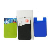 caixa de telefone de cartão de crédito de silicone venda por atacado-Hot Wallet Sticks Titular do Cartão de Crédito de Volta para Samsung Universal 3 M Sticky Silicone Titular do Cartão de Carteira Inteligente Stick-On Caso Do Telefone