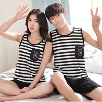 Wholesale Sexy Bedgown - Wholesale- Summer new men and women couple pajamas cute cartoon milk silk sleeveless shorts sleepwear suit Lovers Striped bedgown