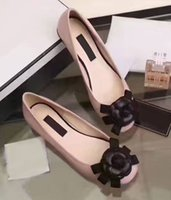 Wholesale Christmas Thongs - AYJ09 Fashion zapatos mujer Camellia Floral Flower Ballet Flats Women Thong Loafer Genuine Leather Shoes Sz 35-39
