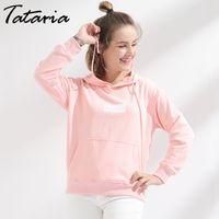 Wholesale Standard Com - Women Hoodie Sweatshirt Love Pink Tops Pullover Long Sleeve Moletom Feminino Com Capuz Loose sweatshirt With Pocket Garemay