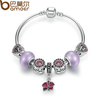 Wholesale Orchid Pendant - Pandora Style Silver Heart Charm Bangle & Bracelet with Radiant Orchid Pendant & Purple Bead Bracelet Jewelry PA3082