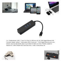 USB 3.1 Tipo C de tipo C a Gigabit Ethernet Red + USB 3.0 Hub Cable de 3 puertos Adaptador LAN Negro Para Macbook Chromebook
