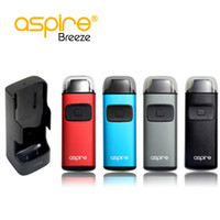 Wholesale Ecigarette Chargers - Original Aspire Breeze PCC kit 650mah all-in-one vape device ecigarette with PCC breeze charger dock 2000mah breeze coil .6ohm free shipping