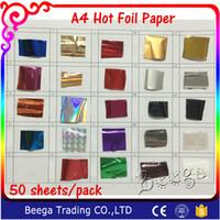 Wholesale A4 Laminator - Wholesale- Free Shipping 50 Pcs 21x29cm A4 Size Gold Hot Stamping Foil Paper Laminator Laminating Transfere on Elegance Laser Printer