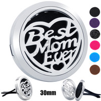 Wholesale 316 Stainless Steel Magnetic Lockets - Best Mom Ever with Love Silver Butterfly (30mm) Magnetic Diffuser 316 Stainless Steel Car Aroma Locket Essential Oil Car Diffuser Lockets