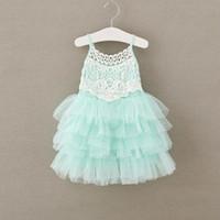 Wholesale Toddler Tutu Dress Cake - 2017 Baby Girls Clothes Chiffon Tutu Girls Dress Ruffle Cake Smash Girls Party Dress 2-7Years Toddler Clothing Lace Dress