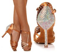 Wholesale Ballroom Shoes Women Brown - Women Dance shoes Ballroom Professional Sports shoes Shiny woman Shoe Soft Bottom High-grade Satin Latin girl shoe BD217 With diamond hot