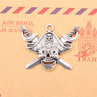 Wholesale Craft Charms Skulls - 18pcs Tibetan Silver Plated pirate skull and cross swords Charms Pendants for Jewelry Making DIY Handmade Craft 45*34mm