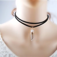 Wholesale Vintage White Jade Necklace - 3PCS Set Choker Necklaces Vintage Black Lace Choker Black Suede Natural Stone Bullet Jade Pendant Collar Necklace Women Spring Party Jewelry