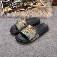 Wholesale Eva Flowers - Soft Brand Moccasins Mens Slide Sandals Tiger Printing Womens Leather Flowers Slippers Indoor and Outdoor With Fast Delivery