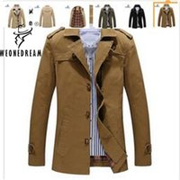 Wholesale Cheap Trench Coats For Men - 2017 New Arrival Cheap Style Man Trench Coat Fashion Brand Single Breasted Turn-down Collar Long Trench Coat for Man 5XL Plus