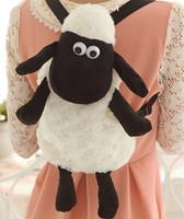 Wholesale Shaun Backpack - Wholesale-2016 Hot Cartoon Shaun The Sheep Plush Backpacks Kawaii 25cm 35cm Stuffed Animal Sheep Shaun Plush Toys for Children School Bags