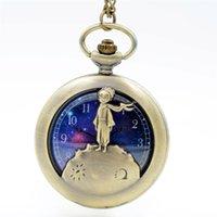 Wholesale Retro Little Watches - Antique quartz necklace watch Retro little prince pocket watches Men women bronze chain pocket watch Students gift wholesale