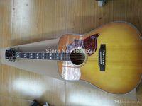 guitarra acústica pickguard al por mayor-Custom Humming Desert Honey Sunburst Guitarra Eléctrica Acústica, Split Parallelogram Fingerboard Inlay, Red Pickguard, Fishman 101 301 Pickups