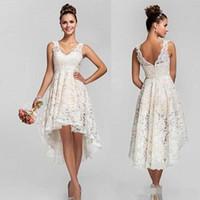Wholesale Empire V Neck Bridesmaid Dress - 2016 Lace High Low Lace Short Bridesmaids Dresses Empire Pleats Chiffon Long Plus Size Maid Of Honor Wedding Party Dress