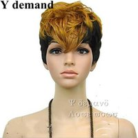 Wholesale Multi Color Short Wigs - Pixie Short Hot New Stylish Ombre Straight Multi -Color Ladies Fashion Sexy Party Cosplay Synthetic Hair Wigs Wig In Stock