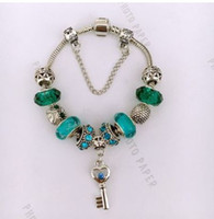 Wholesale Jade Key Chain - 925 Sterling Silver Jade Green Murano Glass European Charm Beads Heart Key Dangle Fits Charm Bracelets Pandora Style Bracelet DIY Jewelry