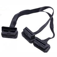 conector de diagnóstico renault venda por atacado-30 cm preto 2em1 flexível extensão OBD2 fio plug 16 pinos porta conector para obd 2 ferramentas de diagnóstico