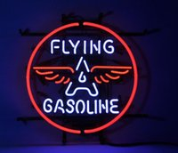 Wholesale Gas Signs - 17''X14'' lying Gasoline Neon Sign Store Display Garage Gas Station Mancave