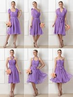 Wholesale Sleevless Wedding Dresses - Best Selling A Line Knee Length Chiffon Lavender Convertible Bridesmaid Dresses Pleated Beach Wedding Party Dresses With Sleevless