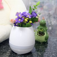 Wholesale Christmas Decoration Music - New Smart Mini Flower Pot Plastic Bluetooth Speaker Decoration LED Night Light Office Decor Planter Colorful Light Creative Music Toy