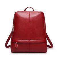 Wholesale Orange Vintage Bag - Vintage PU Leather Backpack Purse Bookbag School Bag Daypack Backpacks for Girls Litchi Pattern Women's Daypack
