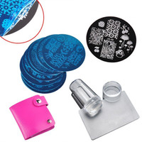 Wholesale Wholesale Nail Image Plates - Wholesale-10Pcs Nail Plates + Clear Jelly Silicone Nail Art Stamper Scraper Nail Art Stamping Template Image Plates Nail Stamp Plate Set
