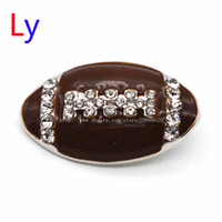 Wholesale Crystal Football Charms - Hot!!!!!! VOCHENG NOOSA 18mm Bling Rugby Interchangeable American football fans Crystal Button Jewelry Free shipping NR0102