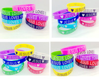 Wholesale Tow Mix Style Multi colors Jesus Loves Heart Silicone Bracelet Cuff Wristband For Man Women