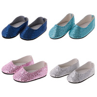 Wholesale Dress Pairs Doll Shoes - Fashion Colorful Shoes Pair of Bling Bling Sequins Shoes for 14 18'' American Girl Journey Doll Shoes Dress Up Dolls Accessories