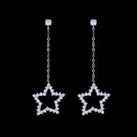 Fashion 925 boucles d'oreille en argent sterling Long Chain Dangle Star Ear Stud Zirconia Earring Hot Sale bijoux en cristal autrichien pour les femmes