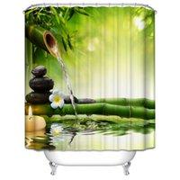 Wholesale Bamboo Candles Wholesale - Wholesale- Japanese Design Shower Curtain Jasmine Flower Spa Zen Green Bamboo Candles Relaxation View Magical Shower Curtain Bathroom Decor