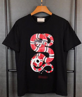 Wholesale Shirt Sequins - 2017 Wholesale GU tee clothing Men's T-Shirts 3D red Plate snake painting hip hop clothing mens designer shirts plus size black white