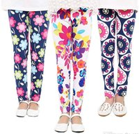 Wholesale Kids Lycra Leggings - Summer Spring baby girls leggings new kids new girls 9th leggings flowers floral print leggings children floral tights
